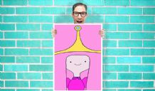Adventure time Princess Bubblegum Face Art - Wall Art Print Poster Pick A Size - Cartoon Art Geekery